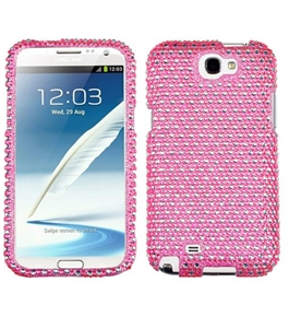 Asmyna SAMGNIIHPCDM375NP Stylish Dazzling Diamante Case for Samsung Galaxy Note 2 - 1 Pack - Pink/White Dots