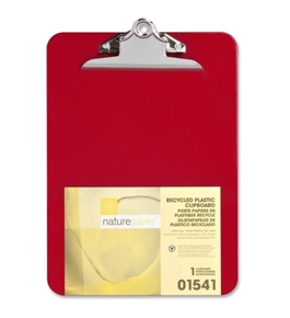 "Wholesale CASE of 25 - Nature Saver Recycled Plastic Clipboards 1"" Cap, 9""x12-1/2"", Red"