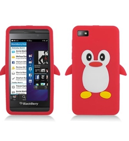 Aimo BB10SKPG003 Unique Penguin Skin Protective Case for BlackBerry Z10 - 1 Pack - Red