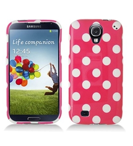 Aimo SAMSIVPCPD306 Cute Polka Dot Hard Snap-On Protective Case for Samsung Galaxy S4 - Hot Pink/White