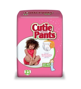 Cuties Training Pants, Girl, White/Pink, 23 Count  - Pack of 4
