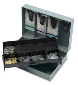 "Sparco Steel Combination Lock Cash Box - 6 Coin - Steel Gray - 3.2"" Height x 11.5"" Width x 7.8"" Depth"