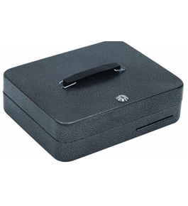 "Hercules CB1209 Key Locking Cash Box with 9 Compartment Tray, 11.8"" x 9.5"" x 3.7"", Recycled Steel, Silver Vein"