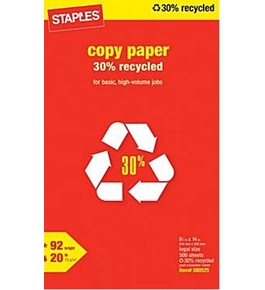 Staples 30% Recycled Legal Size Copy Laser Inkjet Printer Paper, 8 1/2 x 14 inch, 20 lb., 92 Bright White, Acid Free, Ream, 500 Total Sheets - 580525