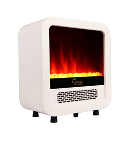 Caesar Hardware Electric Fireplace Portable Mini Indoor Compact Freestanding Room Heater, White