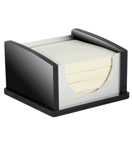 Kantek BA-305 3 x 3 Inch Memo Pad Holder, Black Acrylic and Aluminum
