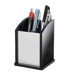Kantek BA-320 Pen Cup, Black Acrylic and Aluminum