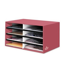 Bankers Box Decorative 8 Compartment Literature Sorter, Letter, Persimmon Red (6140301)