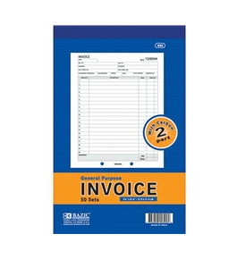 BAZIC 2-Part Invoice with Carbon, 5.56 x 8.43 Inch, 50 Sets - 522-12P