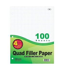 BAZIC Quad-Ruled Filler Paper, 4.1 Inch, Green, 100 Ct