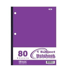 BAZIC W/R 80 Count Wireless Notebook,Pink/Blue/Green/Purple