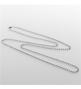 Beaded Neck Chain - Metallic - Silver