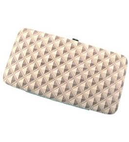 Beige Raised Geometric Two Tone Hard Case Wallet