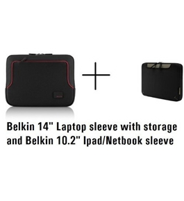 "Belkin Netbook/Ipad and 14"" Laptop bag Combo pack, TWO CASES"