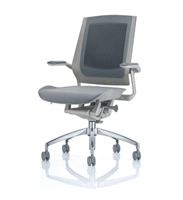 Bodyflex BF4300GRY Office Chair with Silver Frame and Grey Fabric