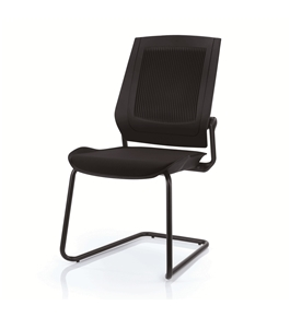 Bodyflex BFSL-BLK Sled Base Side Chair with Black Frame and Black Fabric