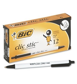 Bic Clic Stic Retractable Ball Pen, Medium Point (1.0 mm), Black, 12 Pens