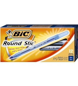 BIC Round Stic Ball Pen, Medium Point, 1.0 mm, Blue, 12 Pens (GSM11-Blu)
