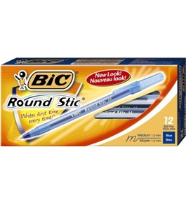 BIC Round Stic Ball Pen, Medium Point (1.0 mm), Blue, 432 Pens total (12 pens in 36 boxes)