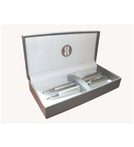 Bill Blass Normandie Satin Chrome Pen and .9mm Pencil Set