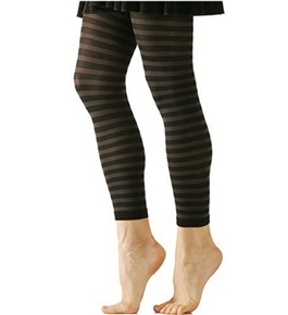 Black and Grey Stripe Solid Opaque Legging/Footless Tights By Foot Traffic