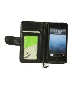 Black iPhone 5 Wallet Case - MYCARRYINGCASE iPhone 5 Magnetic Pocket PU Leather Holster Wallet with 3 Slots for ID, Credit Card and Straps