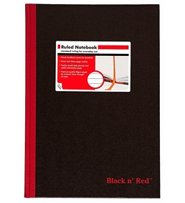 Black n' Red Casebound Hardcover Notebook, 11-3/4 x 8-1/4 Inches, Black, 192 sheets (D66174)