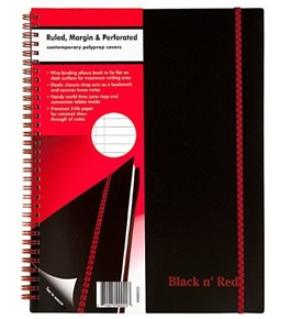Black n' Red Twin Wire Poly Cover Notebook, 11 x 8-1/2 Inches, Black, 70 sheets (K66652)