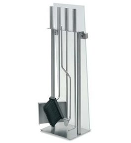 Blomus Stainless Steel Fireplace Tool Set with Glass