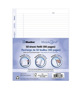 Blueline MiracleBind Notebook Refill Sheets, 50 Sheets, 9.25 x 7.25 Inches (AFR9050R)