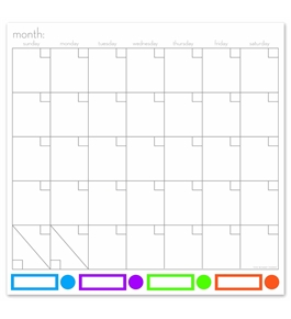 "Board Dudes 14"" x 14"" Color Coded Magnetic Dry Erase Calendar and Bulletin Board (13888UA-4)"