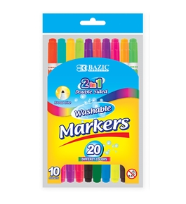 BAZIC 10 Color Double-Tip Washable Markers