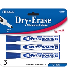 BAZIC Blue Chisel Tip Dry-Erase Markers (3/Pack)