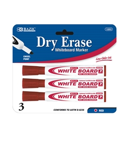 BAZIC Red Chisel Tip Dry-Erase Markers (3/Pack)