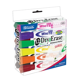 BAZIC Bright Color Chisel Tip Dry-Erase Markers (12/Box)