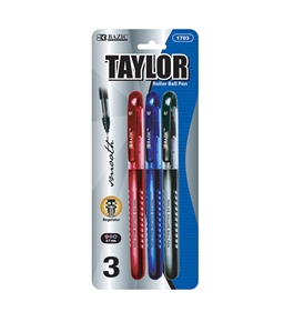 BAZIC Taylor Assorted Color Rollerball Pen (3/Pack)