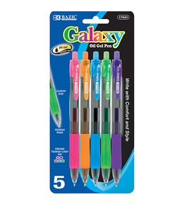 BAZIC Galaxy 5 Retractable Color Oil-Gel Ink Pen