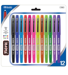 BAZIC 12 Color Fiero Fiber Tip Fineliner Pen