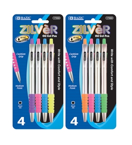 BAZIC Zilver Side Click Retractable Oil-Gel Ink Pen (4/Pack)