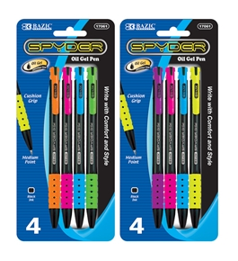 BAZIC Spyder Retractable Oil-Gel Ink Pen (4/Pack)