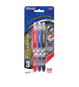 BAZIC Frizz Assorted Color Erasable Gel Pen with Grip (3/Pack)