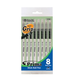 BAZIC Prima Black Stick Pen with Cushion Grip (8/Pack)
