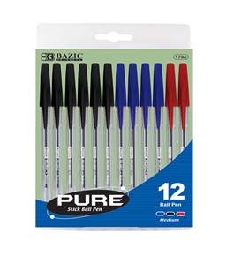 BAZIC Pure Assorted Color Stick Pen (12/Pack)