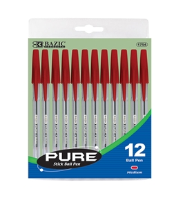 BAZIC Pure Red Stick Pen (12/pack)