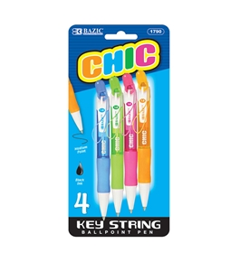 BAZIC Chic Mini Retractable Pen with Detachable Key String (4/Pack)