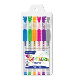 BAZIC 6 Glitter Color Gel Pen with Cushion Grip