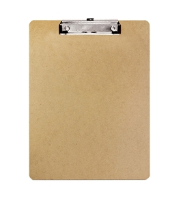 BAZIC Standard Size Hardboard Clipboard with Low Profile Clip