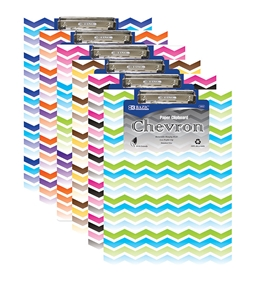 BAZIC Standard Size Chevron Paperboard Clipboard with Low Profile Clip
