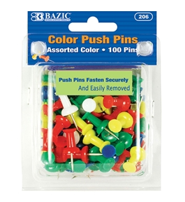 BAZIC Assorted Color Push Pins (100/Pack)
