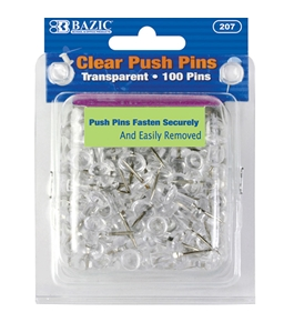 BAZIC Clear Transparent Push Pins (100/Pack)